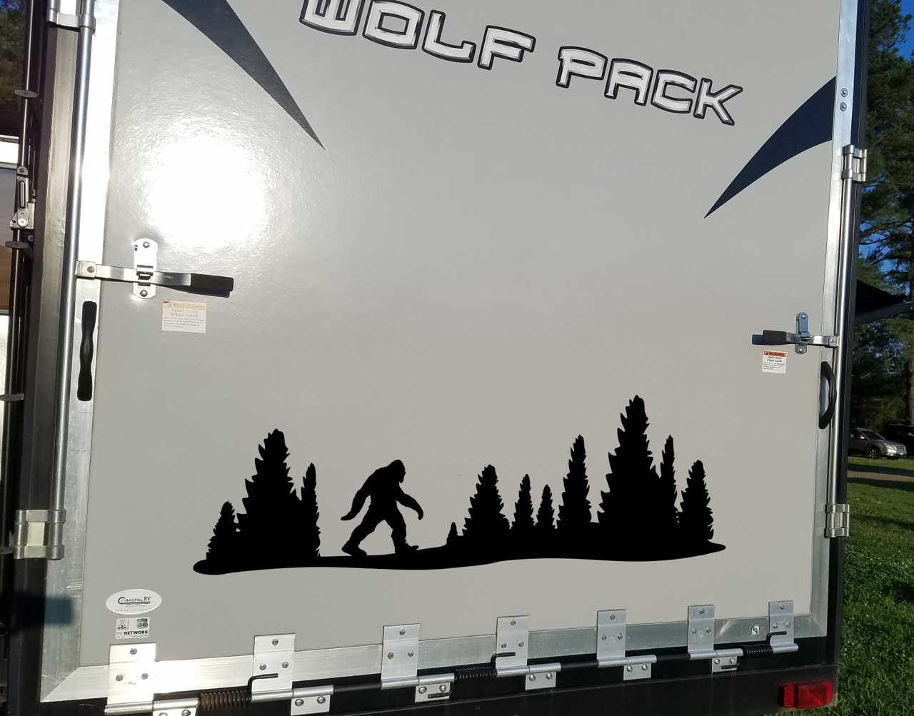 Bigfoot in Treeline V7 Vinyl Decal - RV Motorhome Graphics Pine Trees Forest PNW Sasquatch - Die Cut Sticker