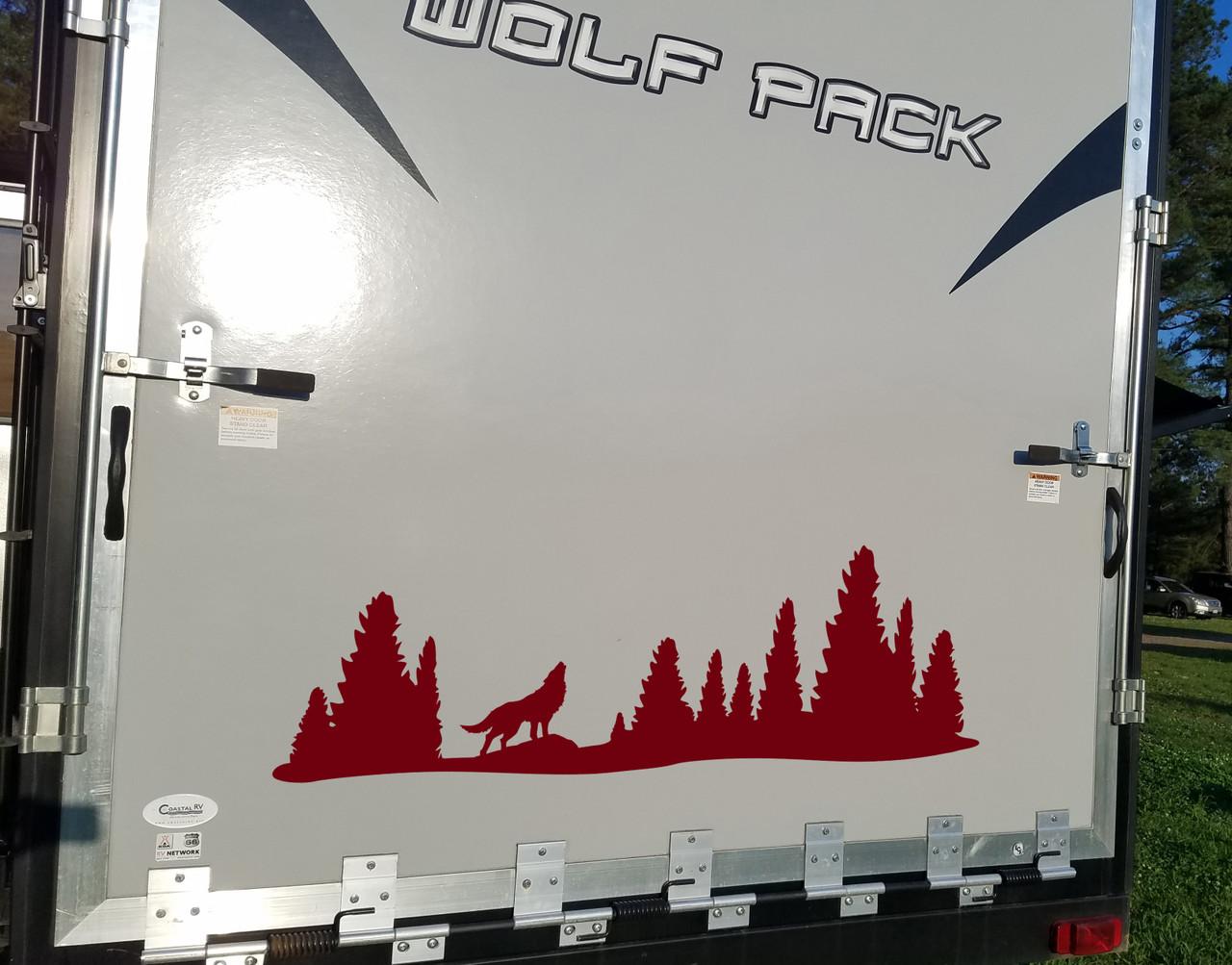 Wolf in Treeline Vinyl Decal - RV Graphics Motorhome Pine Trees Forest  - Die Cut Sticker