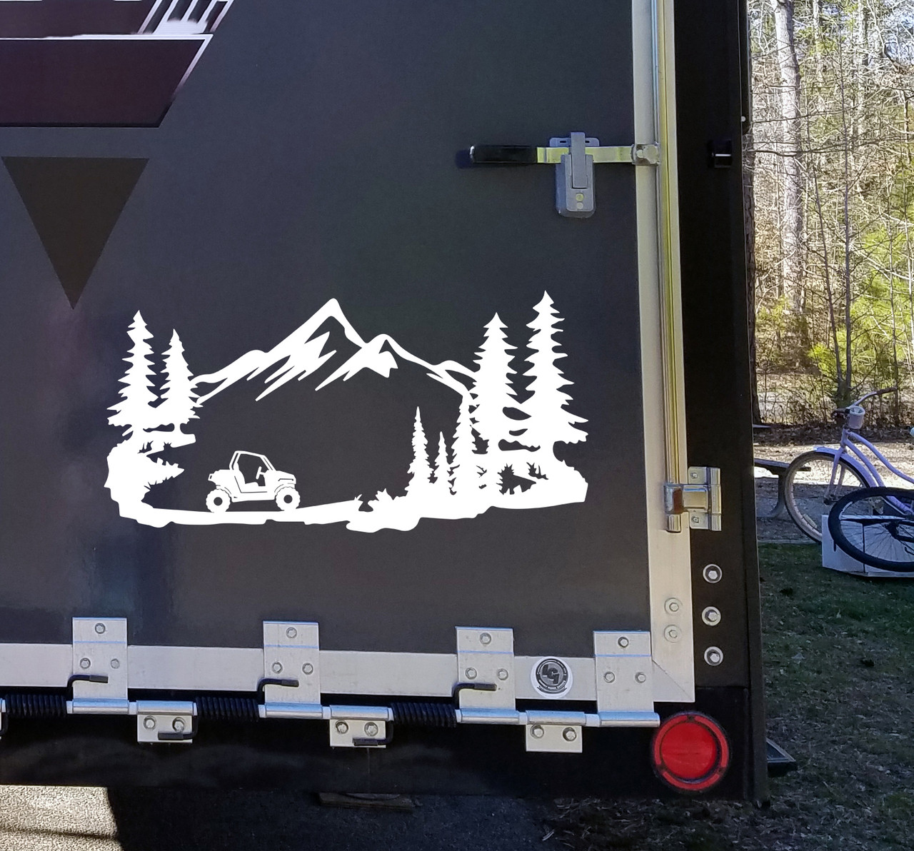 ATV Mountains Scene Vinyl Decal V1 - Quad RV Toy Hauler Graphics 4-wheeler  - Die Cut Sticker