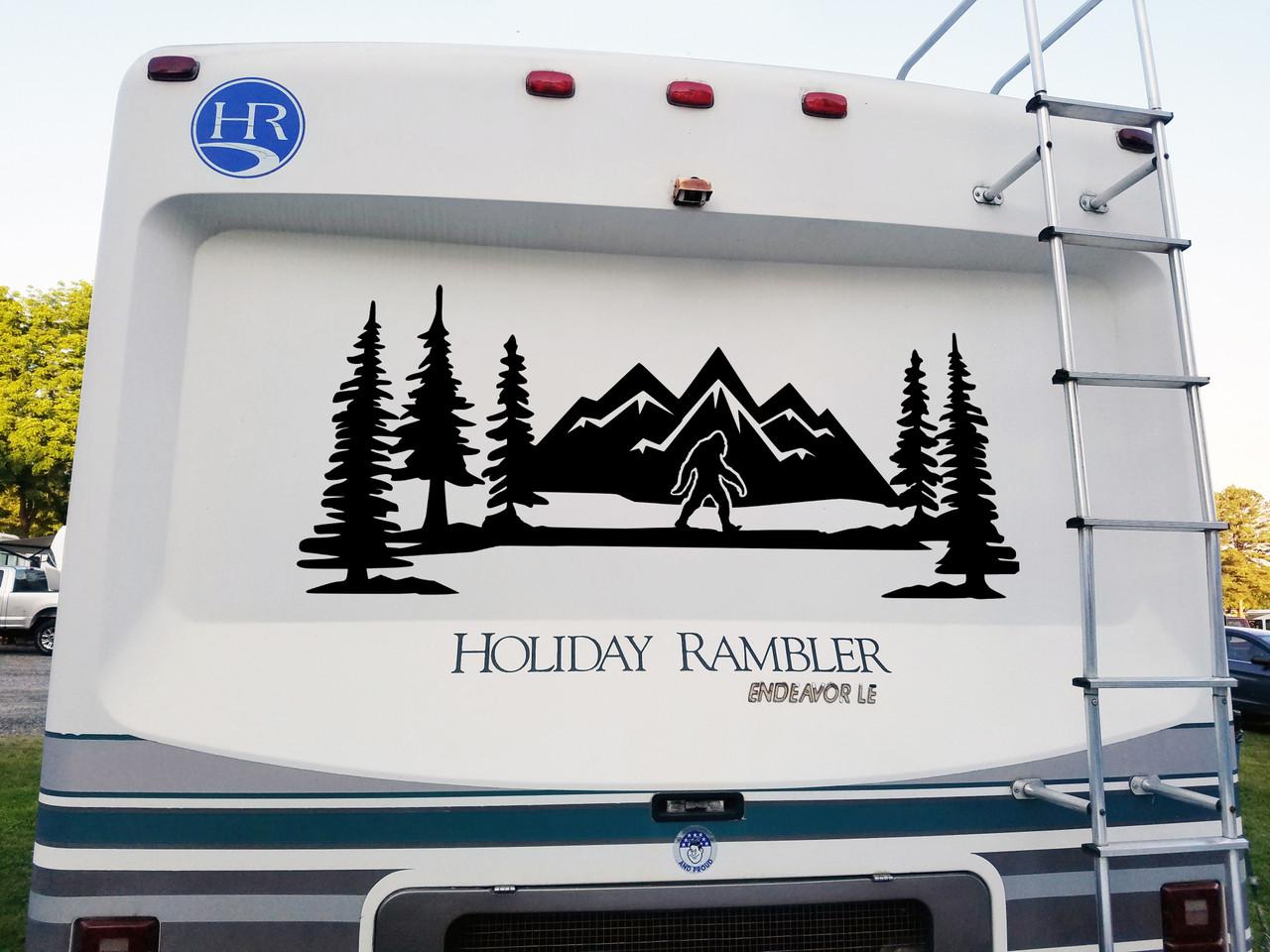 Bigfoot Sasquatch Mountains Scene Vinyl Decal V9 - PNW Trees RV Graphics Travel Trailer Camper - Die Cut Sticker