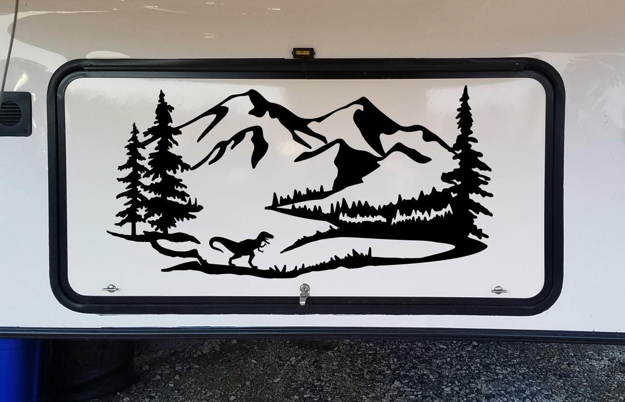 T-Rex Mountains Scene Vinyl Decal V1 - Dinosaur RV Travel Trailer - Die Cut Sticker