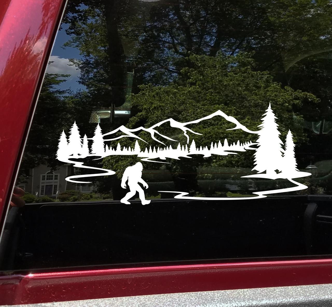 Bigfoot Mountains Forest Scenery V10 - Sasquatch PNW RV Graphics Camper - Die Cut Sticker