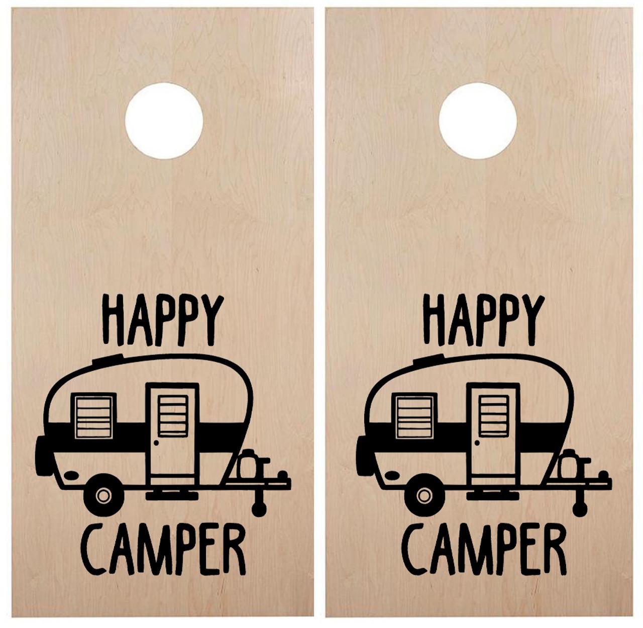 Happy Camper Cornhole Board Decals - Campground Travel Trailer - Die Cut Stickers