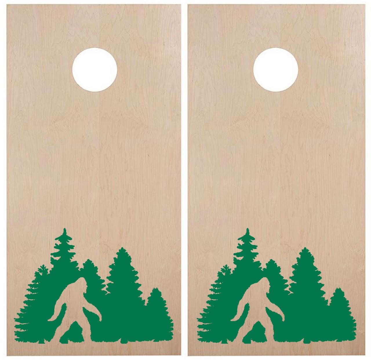 Bigfoot in Tree Line Cornhole Board Decals - PNW Forest  - Die Cut Stickers