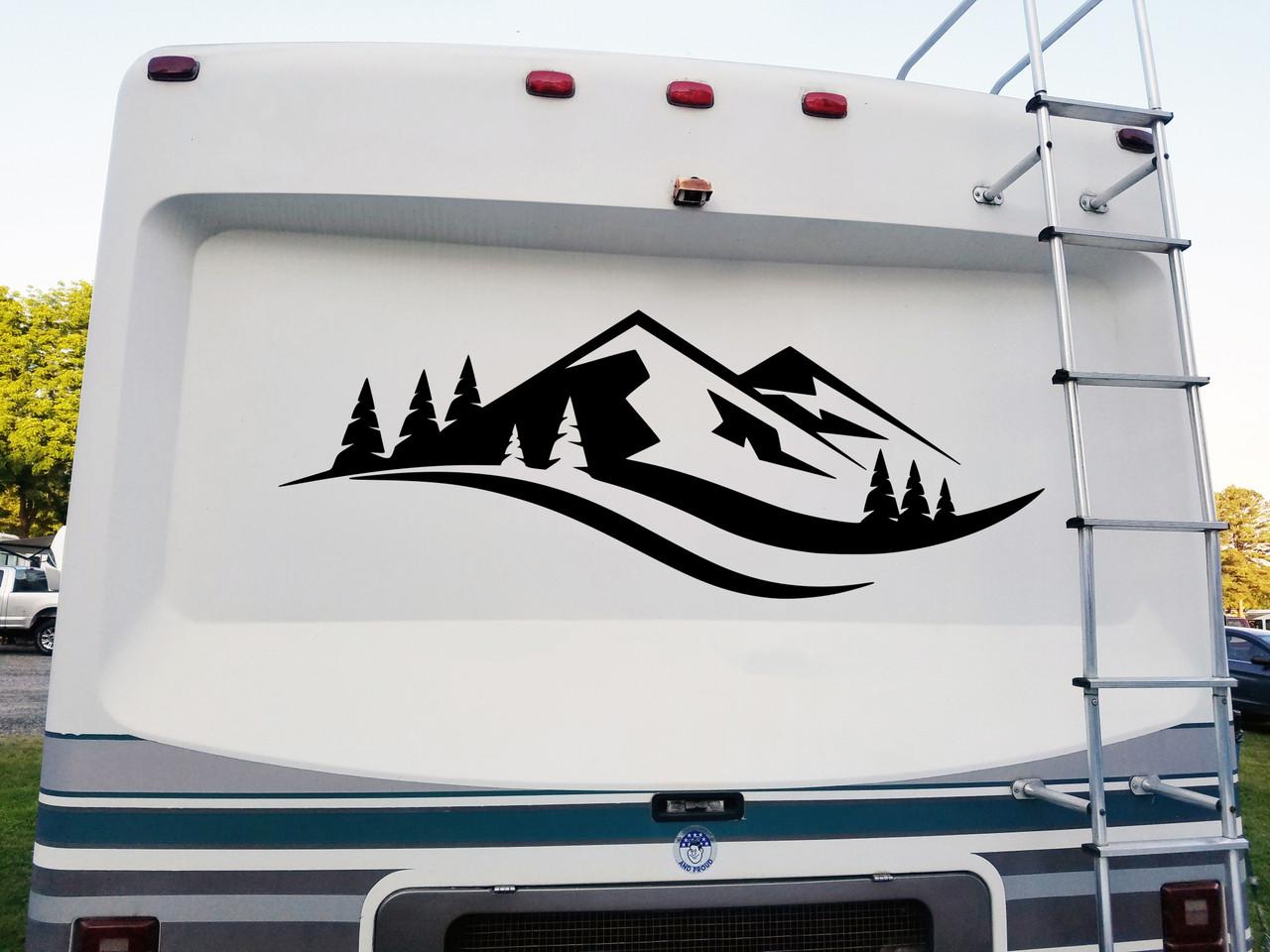 Mountains Forest Scenery V12 - Camper RV Graphics Scene - Die Cut Sticker