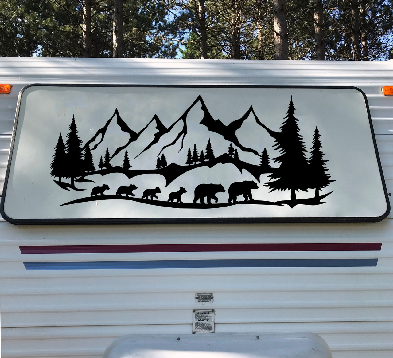 Bear Family of 6 Mountains Forest Scene Vinyl Decal V5 - RV Graphics Camping - Die Cut Sticker