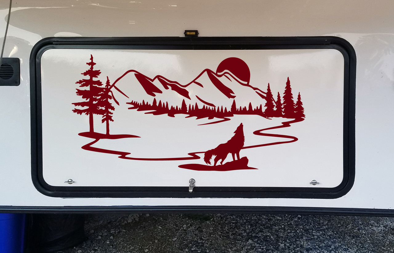 Howling Wolf Moon Scene Vinyl Decal V5 - Mountain Forest RV Graphics - Die Cut Sticker