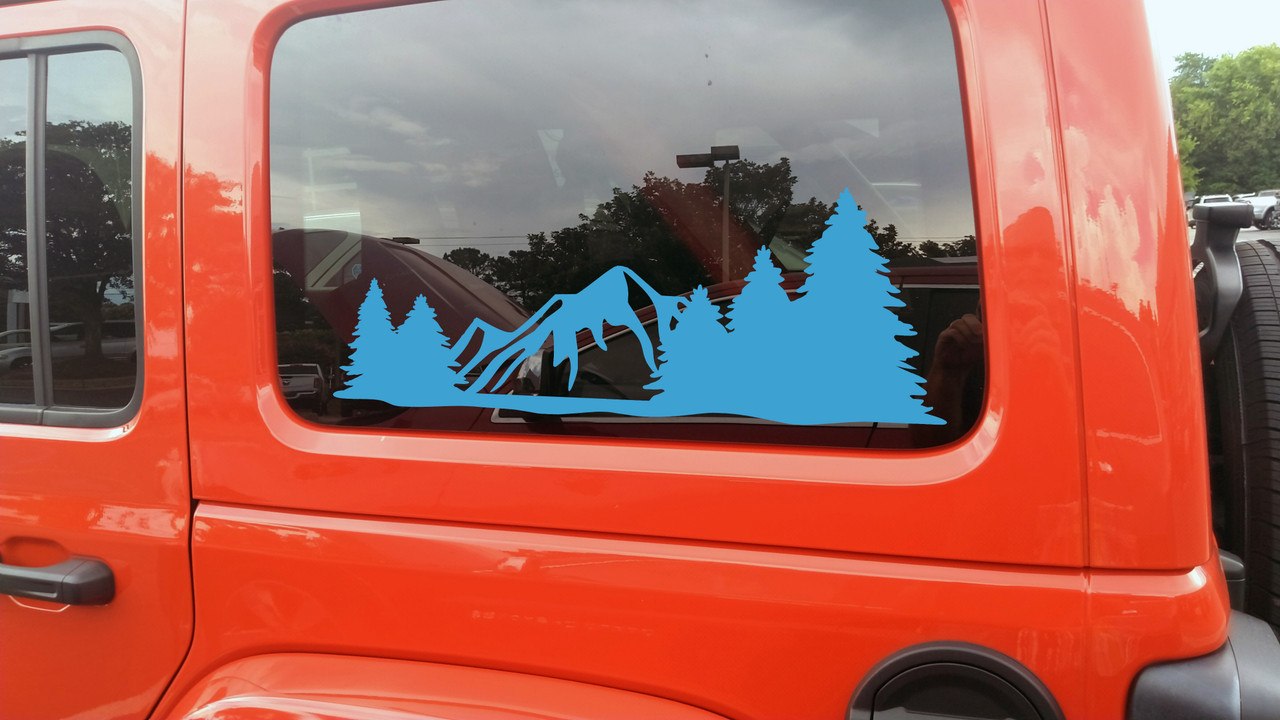 Mountains Forest Scene Vinyl Decal V18 - Scenery RV Graphics Camping - Die Cut Sticker