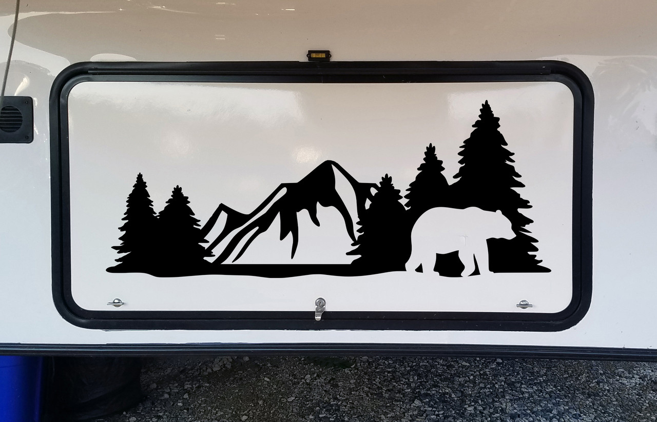 Bear Forest Scene Vinyl Decal V3 - Mountains RV Graphics Camping - Die Cut Sticker