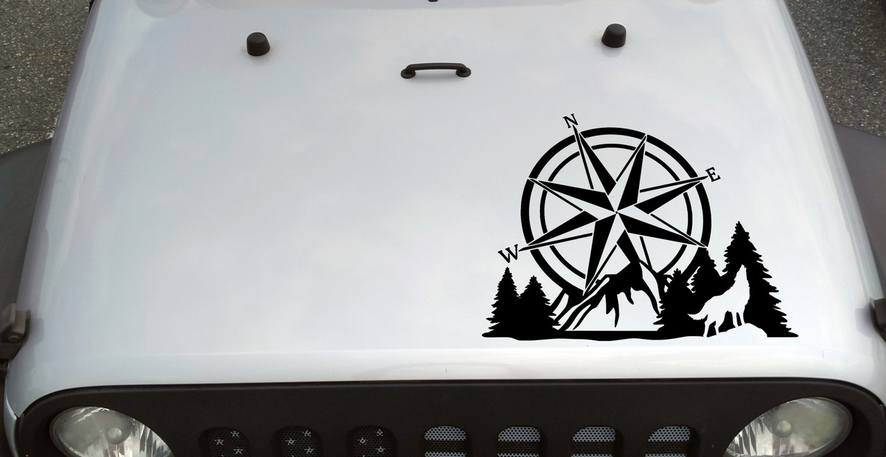 Compass Howling Wolf Mountain Forest Scene V2 - Camping RV Graphics Scenery - Die Cut Sticker