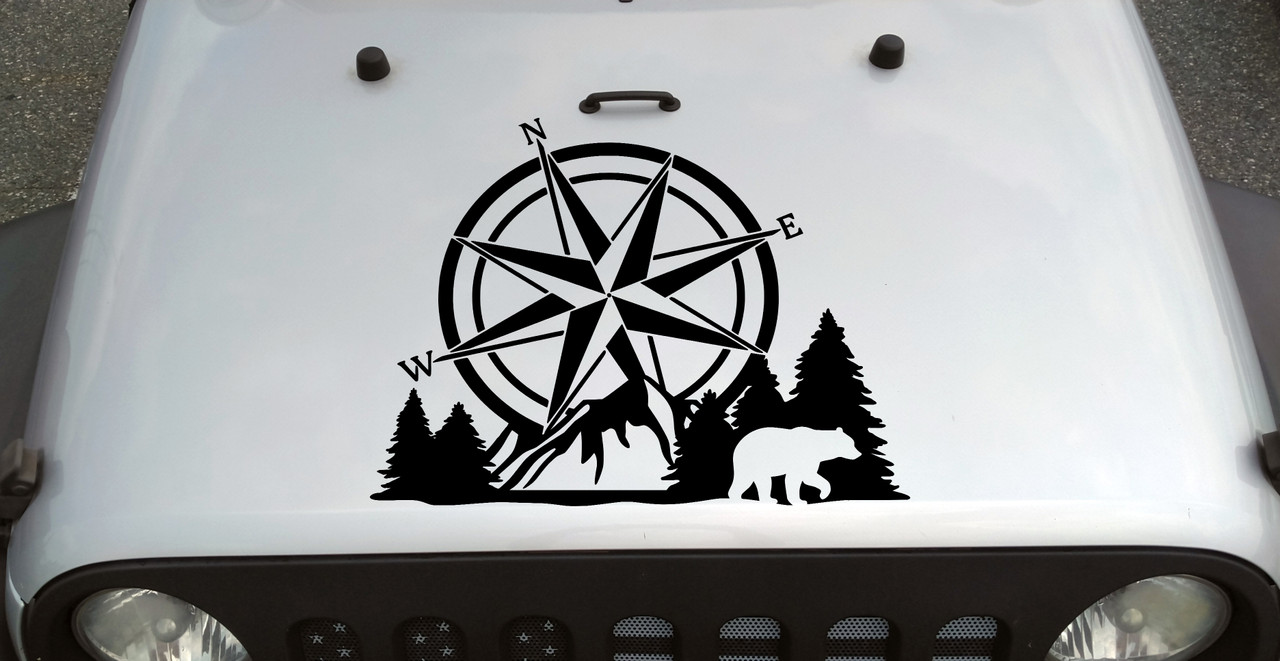 Compass Bear Mountain Forest Scene V2 - Camping RV Graphics Scenery - Die Cut Sticker