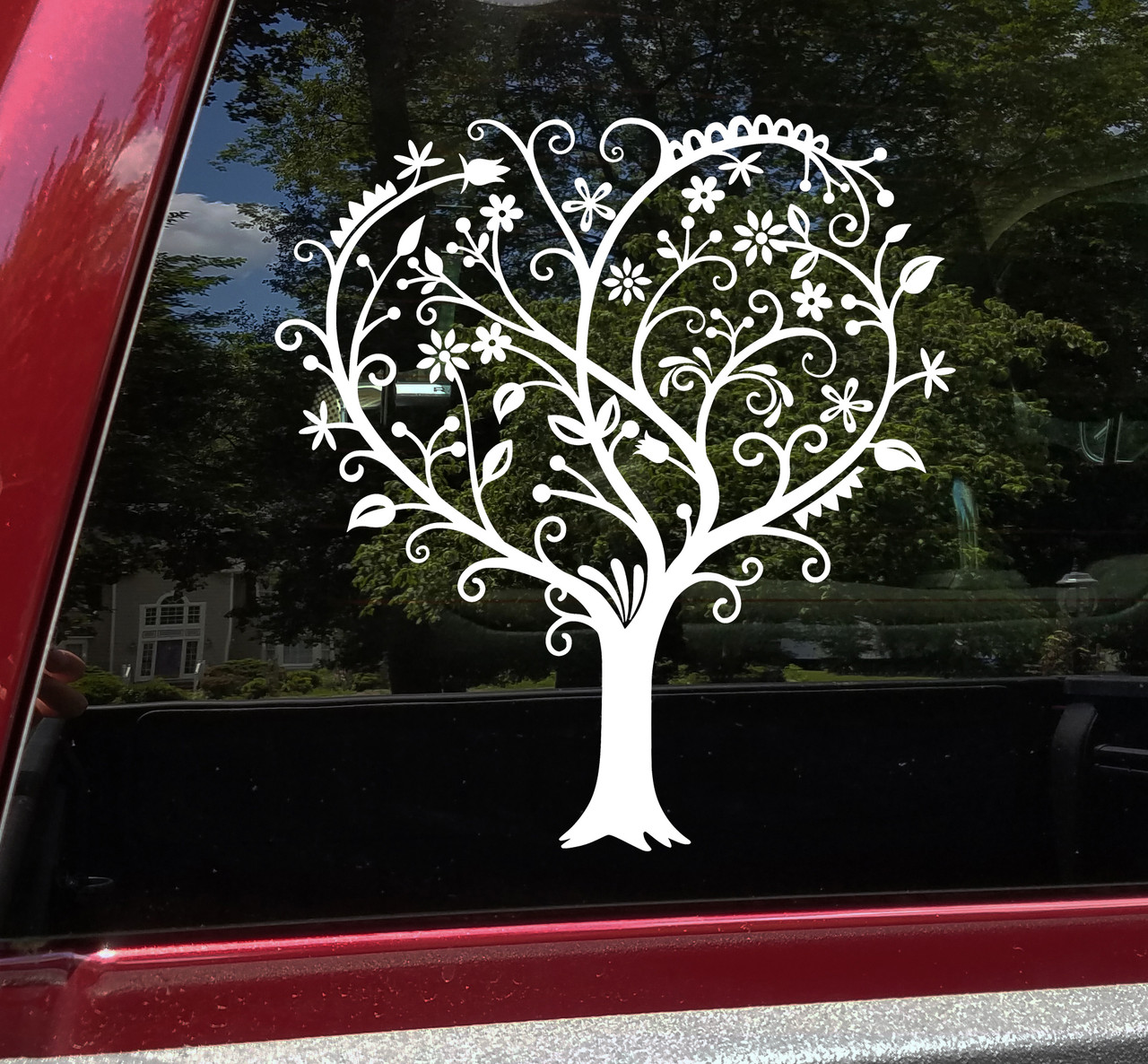 Heart Shaped Tree Vinyl Decal - Love Flowers - Die Cut Sticker