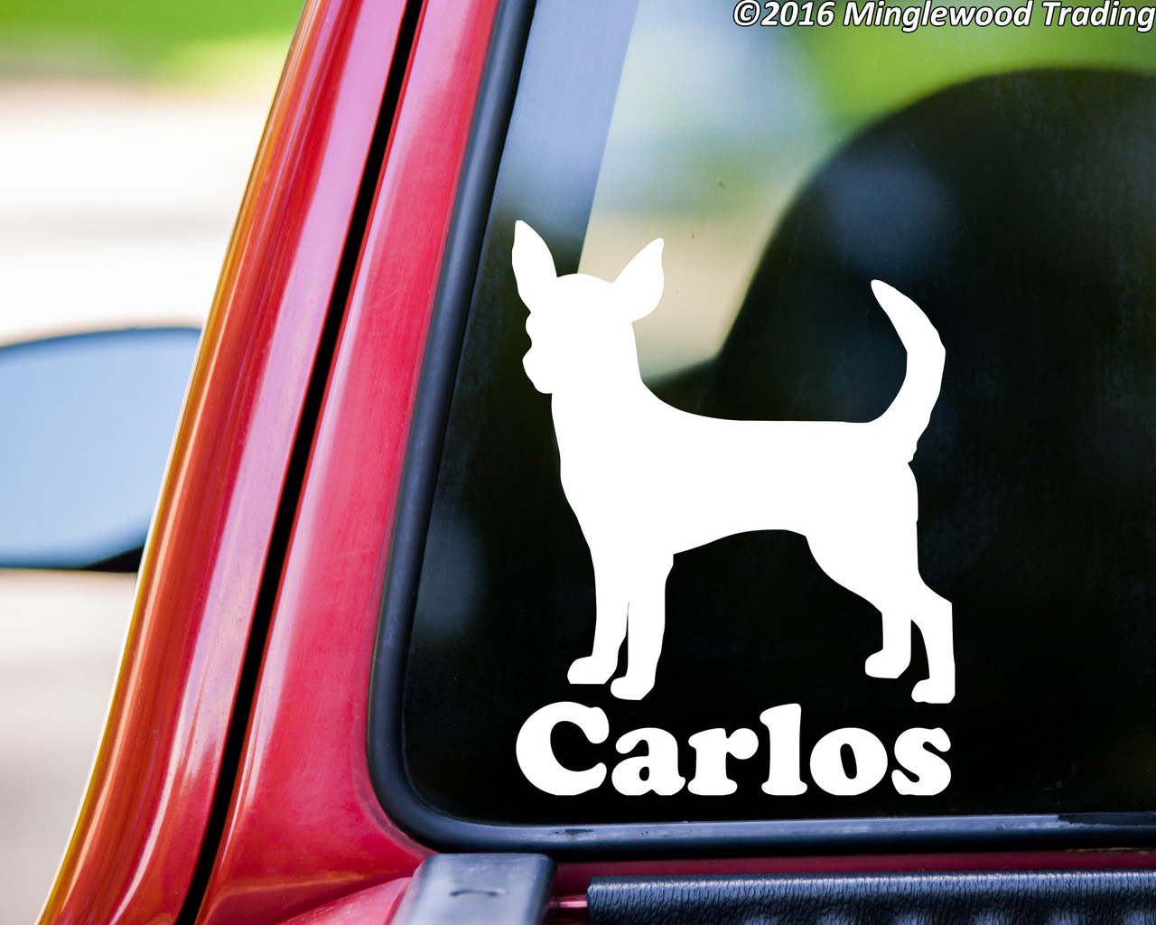 ~ Free Shipping in USA Chihuahua  ~ Custom Text Dog Car Decal Sticker ~ Choose Size and Color
