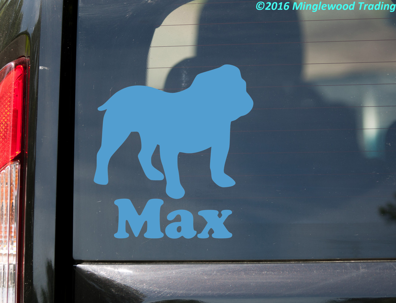 ENGLISH BULLDOG with Personalized Name Vinyl Sticker - Dog Puppy - Die Cut Decal