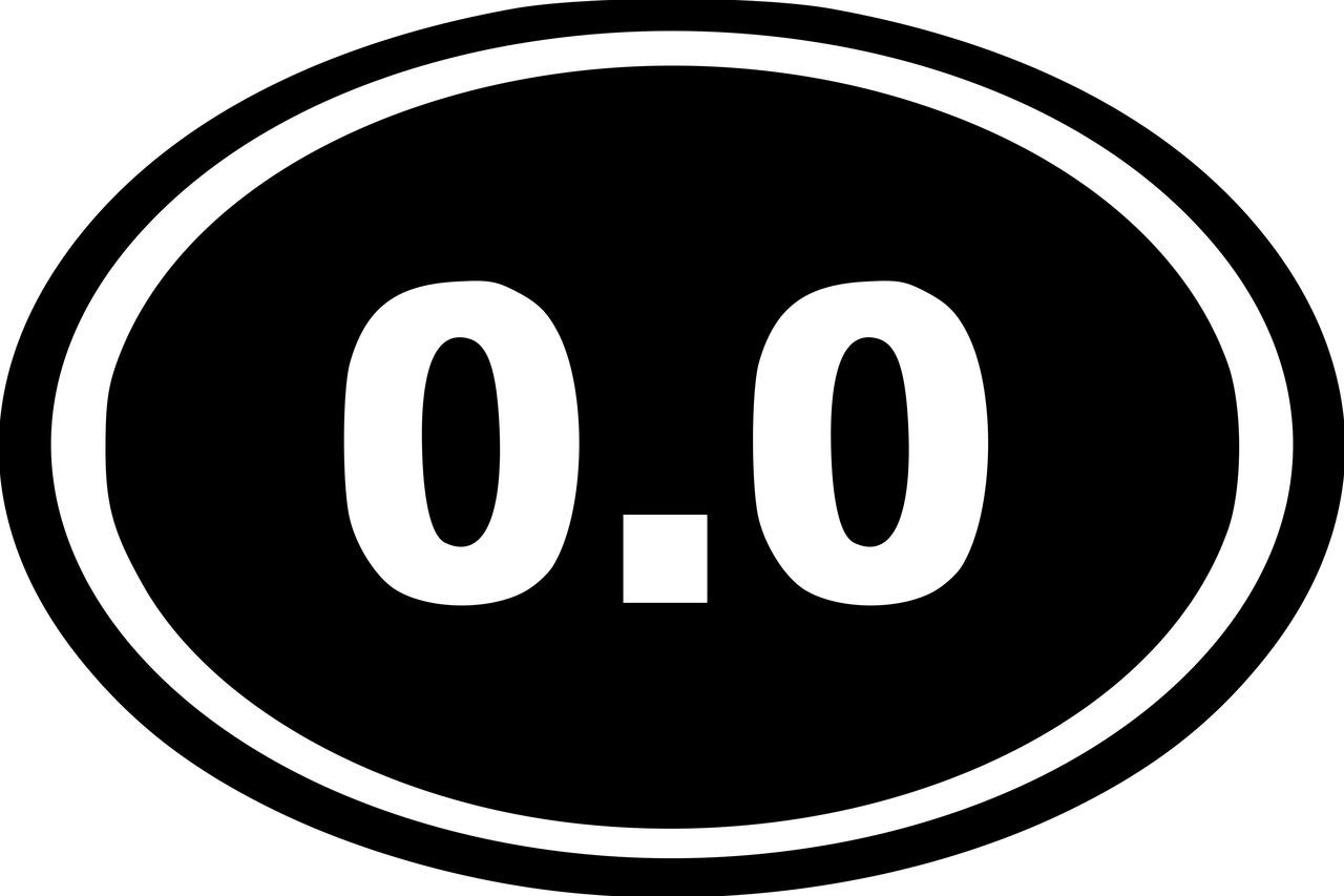 "0.0 Running Oval vinyl decal sticker 6"" x 4"" No Miles Not a Runner Lazy"