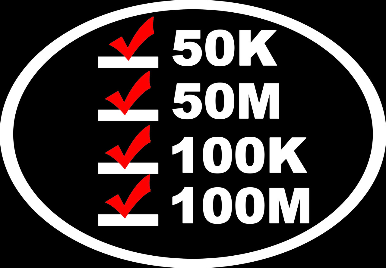 "Ultra Runner's List vinyl decal sticker 6.5"" x 4.5"" 50K 50M 100K 100M - White w/Red Checkmarks"