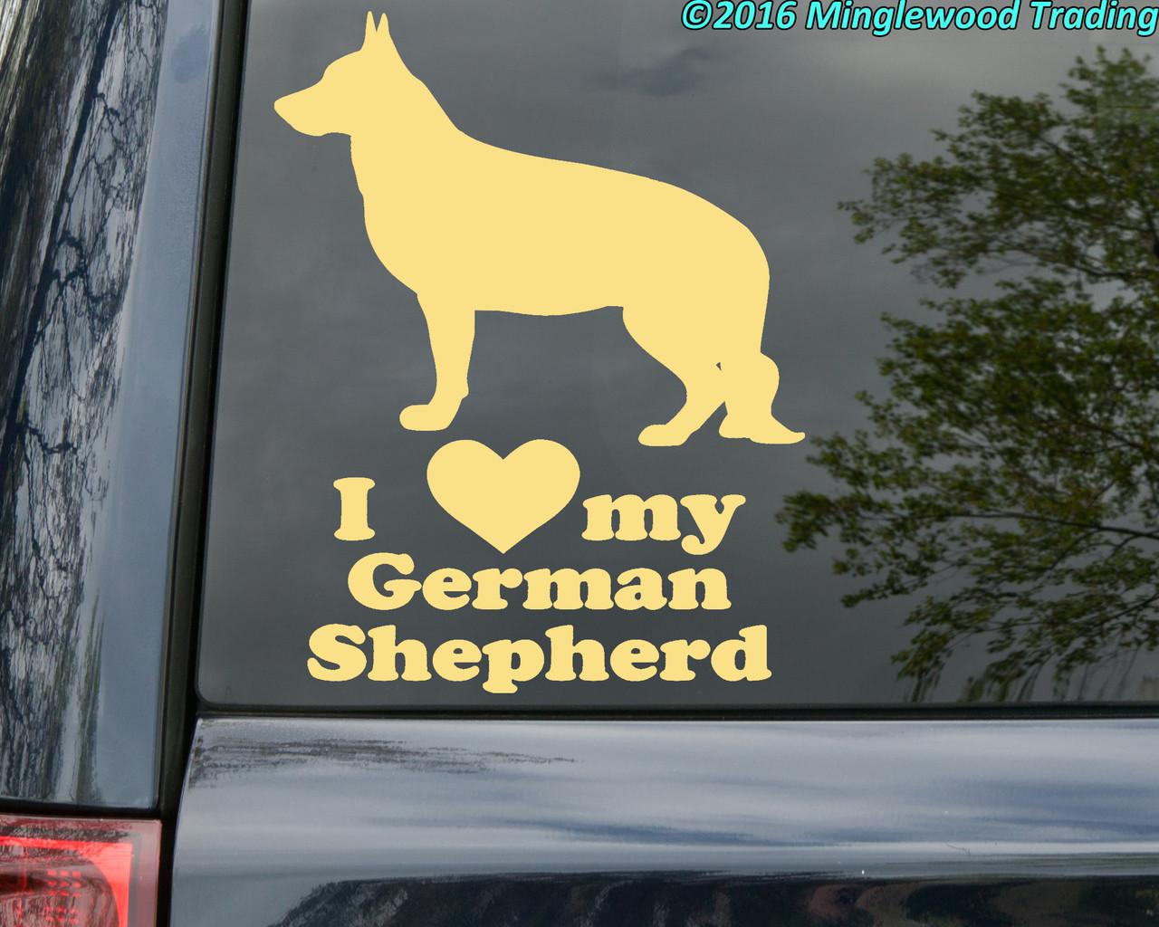 "I Love My German Shepherd  vinyl decal sticker 5.5"" x 7"" Dog Alsatian Wolf standing"