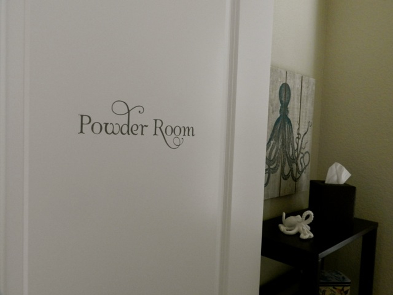 POWDER ROOM Vinyl Sticker - Bathroom Restroom Toilet Door - Home Decor - Die Cut Decal - Swash