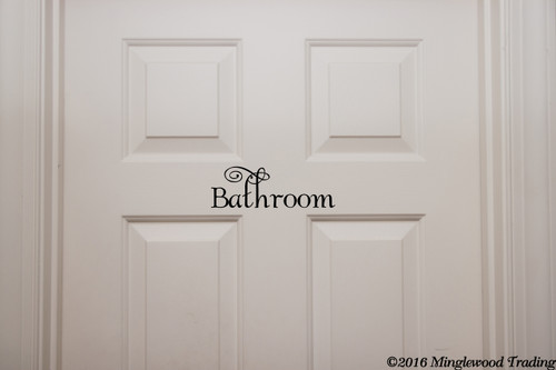 "Bathroom vinyl decal sticker 11.5"" x 4"" Wall Door Decor"