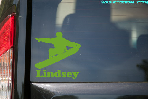 SNOWBOARDER with Personalized Name Vinyl Sticker - Snurfer - Die Cut Decal