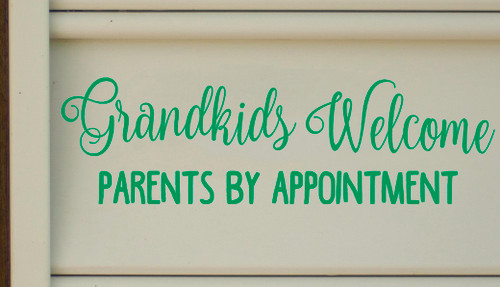 """GRANDKIDS WELCOME Parents By Appointment - 13"""" x 4"""" Vinyl Decal Sticker"""