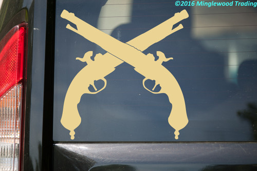 "CROSSED FLINTLOCK PISTOLS Vinyl Decal Sticker 9"" x 9"" Revolutionary War Guns"