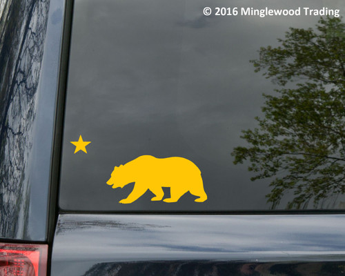 "CALIFORNIA BEAR with STAR Vinyl Decal Sticker 8"" x 4"" Grizzly Bear Flag"