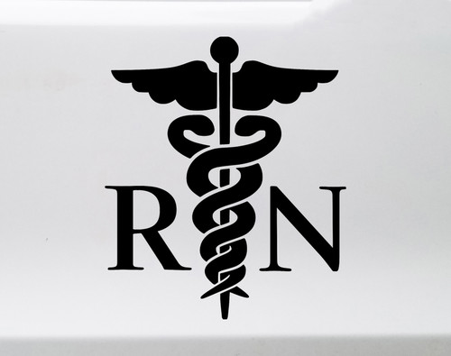 RN with Caduceus Symbol Vinyl Decal - Registered Nurse LPN - Die Cut Sticker