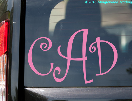 "Monogram Vinyl Sticker 6"" x 12"" - Custom Family Initials Name - Personalized Die Cut - CURLY"