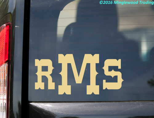 "Monogram Vinyl Sticker 8"" x 3.5"" - Custom Family Initials Name - Personalized Die Cut Decal - WESTERN"