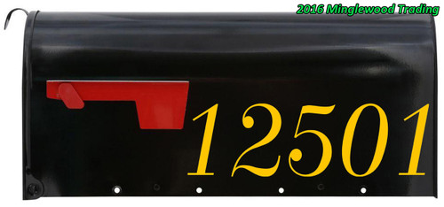 """Set of 2 CUSTOM MAILBOX HOUSE NUMBERS Vinyl Decal Stickers 11.5"""" x 3.5"""" Street Text"""