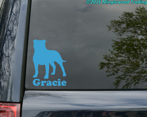"AMERICAN STAFFORDSHIRE TERRIER w/ Custom Name Vinyl Decal Sticker 6"" x 4.25"" Pitbull Pit Bull"