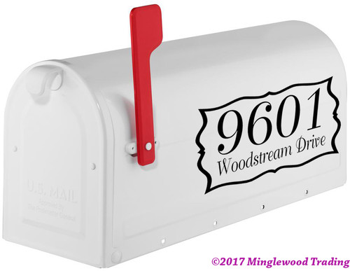 "SET OF TWO 2-Line CUSTOM MAILBOX HOUSE NUMBERS Vinyl Decal Sticker 12"" x 6"" Home Address"