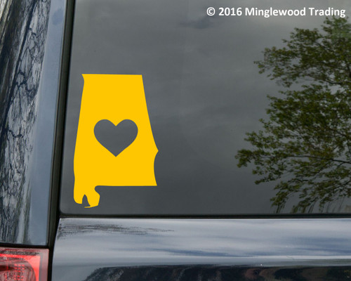 "ALABAMA HEART State Vinyl Decal Sticker 6"" x 3.5"" Love"