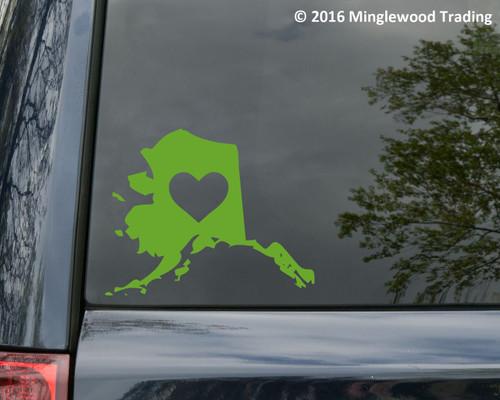 """ALASKA HEART State Vinyl Decal Sticker 7"""" x 5.5"""" Love"""