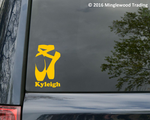 """BALLET SHOES Vinyl Decal Sticker w/ Personalized Name 6"""" x 3.5"""" Pointe Slippers"""