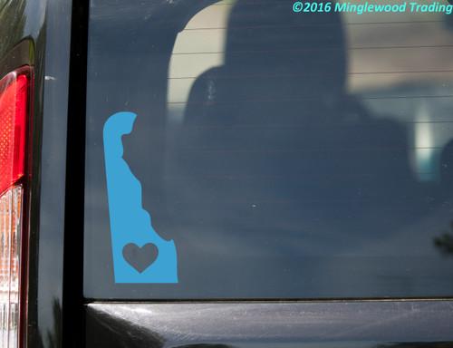 "DELAWARE HEART State Vinyl Decal Sticker 7"" x 3"" Love DE"