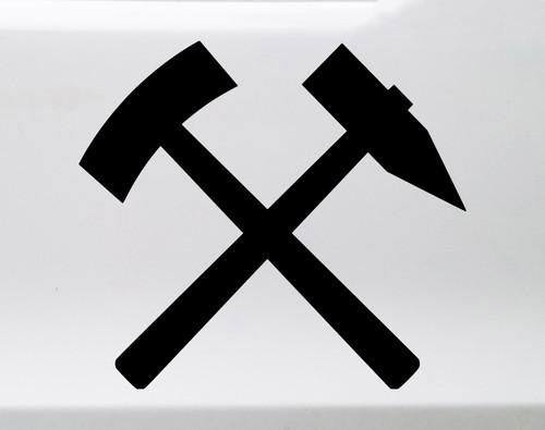 Crossed Hammer and Pick Vinyl Decal - Mining Heraldry Miner - Die Cut Sticker