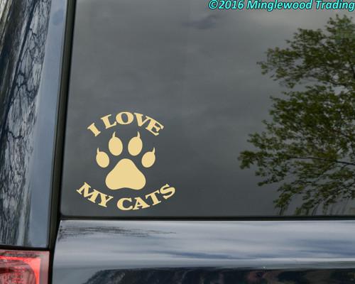 I LOVE MY CATS Vinyl Decal - Kittens - Die Cut Sticker