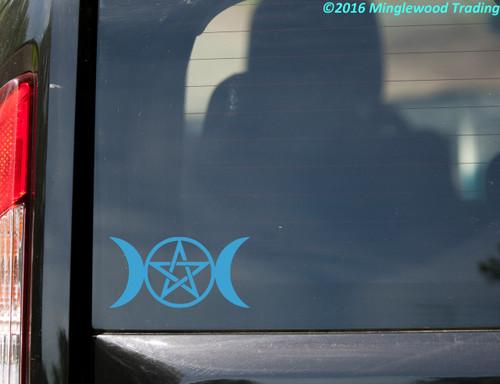 "TRIPLE MOON Vinyl Decal Sticker 5"" x 2.5"" Goddess Neopagan Wicca"
