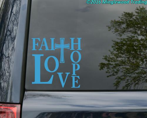 """FAITH HOPE LOVE 8"""" x 8"""" Vinyl Decal Sticker - Cross"""