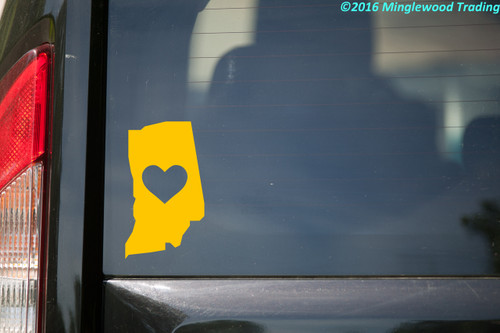 """INDIANA HEART State Vinyl Decal Sticker 6"""" x 4"""" Love IN"""