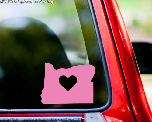 "OREGON HEART State Vinyl Decal Sticker 6"" x 4.5"" Love OR"