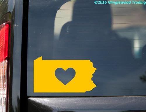 "PENNSYLVANIA HEART State Vinyl Decal Sticker 6"" x 3.5"" Love PA"