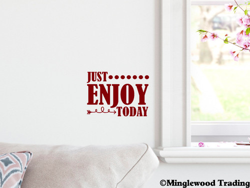 """Just Enjoy Today 7"""" x 5"""" Vinyl Decal Sticker - Happiness Peace Love"""