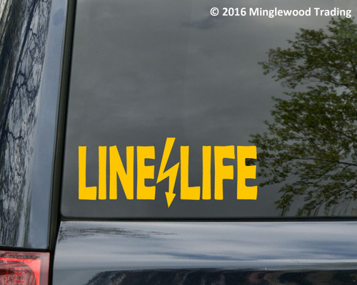 "LINE LIFE 11.5"" x 4.5"" Vinyl Decal Sticker Linemen Electrical Worker Electrician"