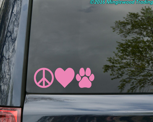 "Peace Love Pawprint 6"" x 2"" Vinyl Sticker - Dog Cat Puppy Kitten Paw - Die Cut Decal"
