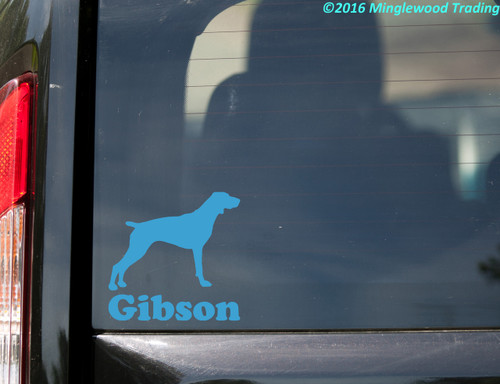 """GERMAN SHORTHAIRED POINTER with Custom Name 5"""" x 5"""" Vinyl Decal Sticker - Dog GSP"""
