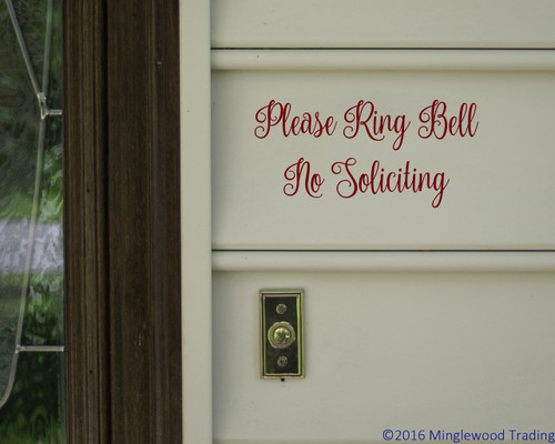 "Please Ring Bell No Soliciting 8"" x 4"" Vinyl Decal Sticker - Front Door Porch Greeting"