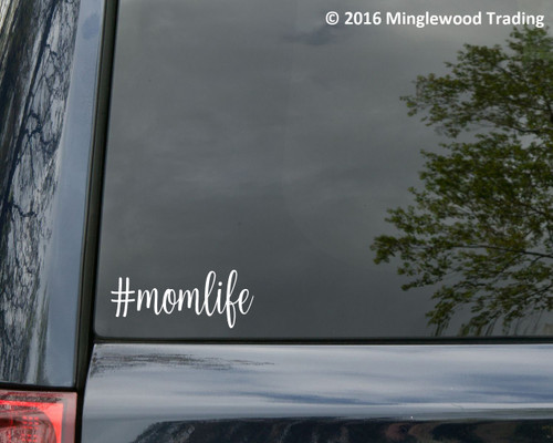 """Two (2) #momlife 5"""" x 2"""" WHITE Vinyl Decal Stickers - Mom Life Mother Kids Children Family"""